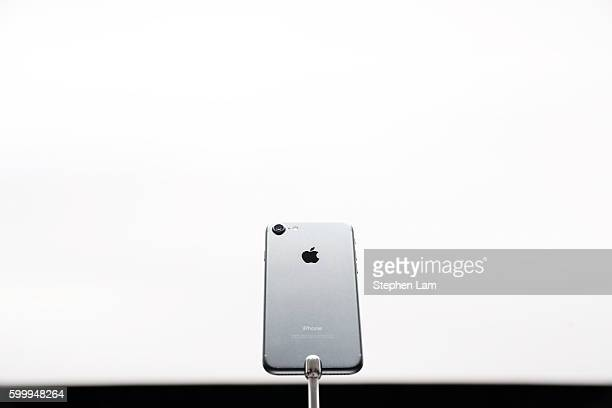 An Apple iPhone 7 is seen during a launch event on September 7 2016 in San Francisco California Apple Inc unveiled the latest iterations of its smart...