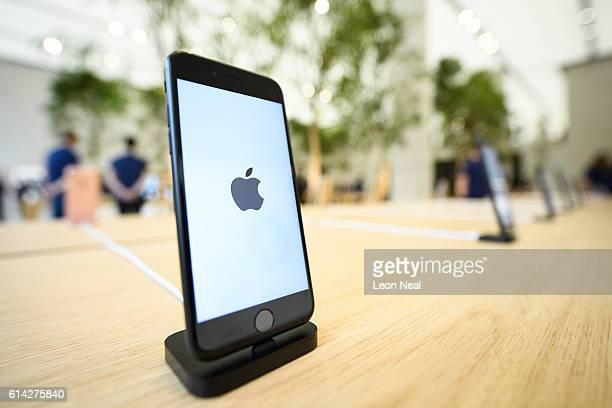 An Apple iPhone 7s is seen in the upgraded Apple store on Regent Street on October 13 2016 in London England Regent Street was Apple's first store in...