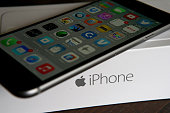 An Apple iPhone sits on a box on January 27 2015 in San Anselmo California Apple Inc reported huge first quarter earnings that were fueled by strong...
