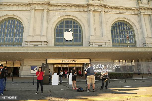An Apple logo hangs on the outside Bill Graham Civic Auditorium on September 9 2015 in San Francisco California Apple Inc unveils latest iterations...