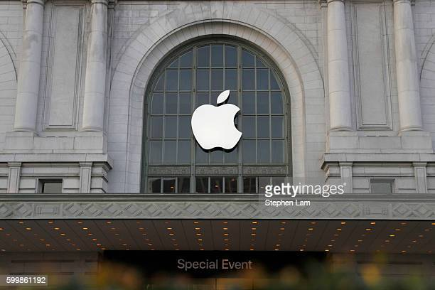 An Apple logo hangs outside Bill Graham Civic Auditorium on September 7 2016 in San Francisco California Apple Inc is expected to unveil latest...
