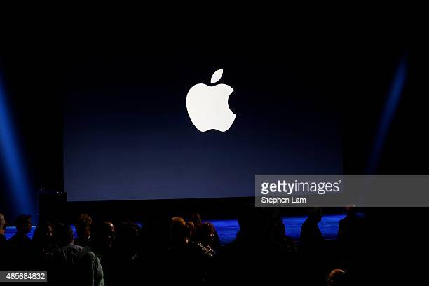 An Apple logo is seen on screen from the stage ahead of a special event at the Yerba Buena Center for the Arts on March 9 2015 in San Francisco...