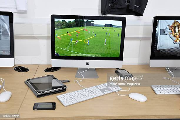 An Apple Mac being used to analyse sporting performance at the Centre of Performance Analysis in the University of Wales Institute January 14 Cardiff