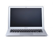 An Apple MacBook Air laptop computer photographed on a white background taken on March 28 2014