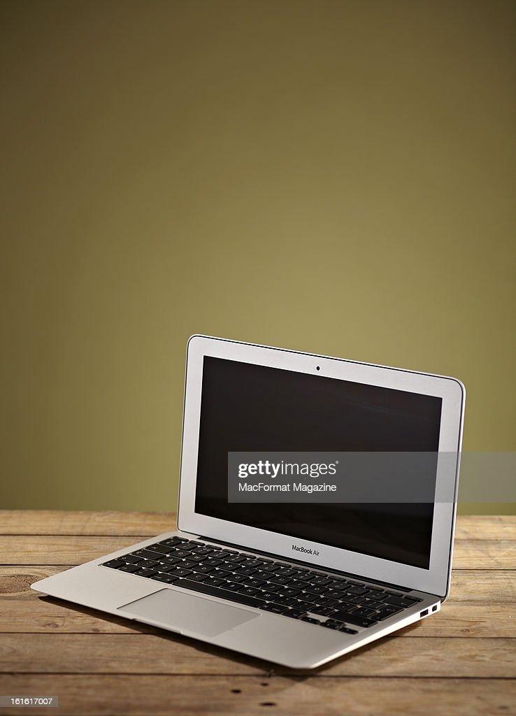 An Apple MacBook Air laptop photographed on wooden floorboards, taken on June 18, 2012.