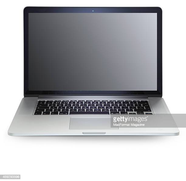 An Apple MacBook laptop computer photographed on a white background taken on October 31 2013