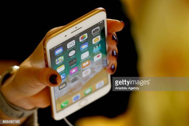 An Apple phone is seen after Apple launched iPhone 8 and 8 plus at the GUM department store in Moscow Russia on September 29 2017