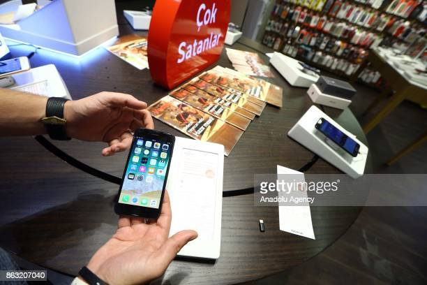An Apple phone is seen after Apple launched iPhone 8 and iPhone 8 plus at Vodafone store in Ankara Turkey on October 19 2017
