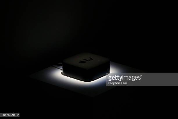 An Apple Tv settop box is seen in the demo area after a Apple special event at Bill Graham Civic Auditorium on September 9 2015 in San Francisco...