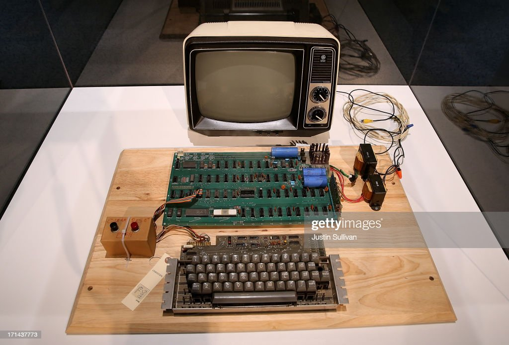 An Apple-1 computer, built in 1976, is displayed during the First Bytes: Iconic Technology From the Twentieth Century, an online auction featuring vintage tech products at the Computer History Museum on June 24, 2013 in Mountain View, California. Christie's is auctioning off an original Apple-1 computer owned by Ted Perry as part of its First Bytes: Iconic Technology from the Twentieth Century, an online auction of vintage tech products. The online auction begins today and runs through July 9. The Apple-1 is expected to fetch between $300,000 and $500,000.