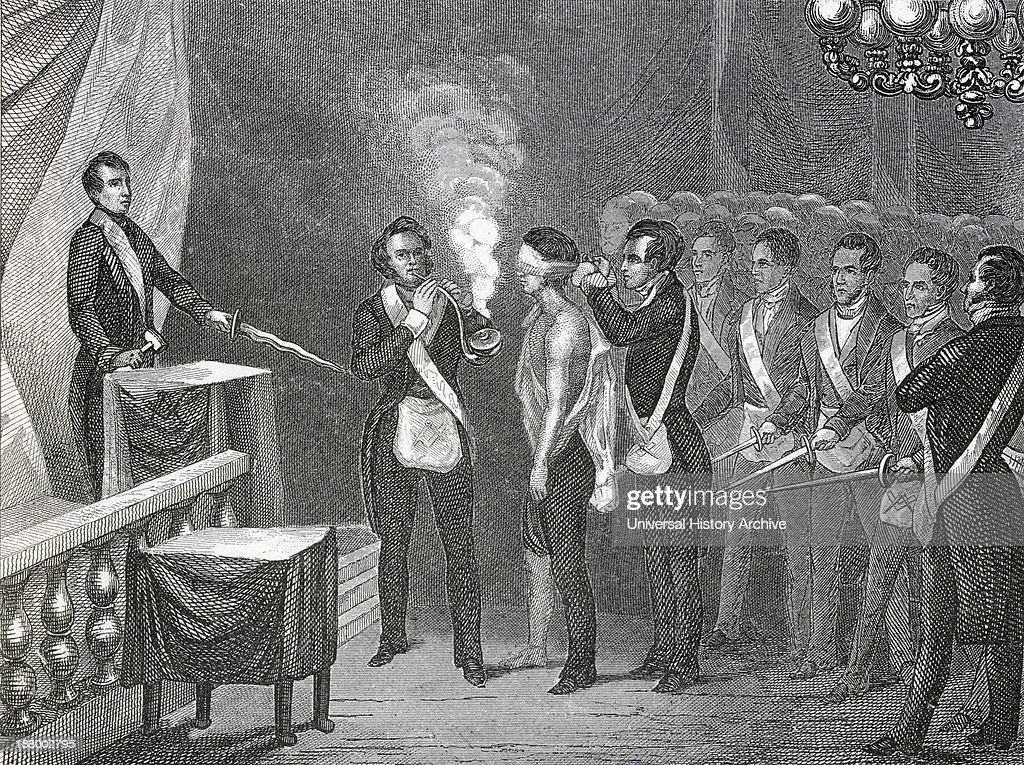 An Apprentice Is Initiated Into Freemasonry From A 19Th Century Illustration
