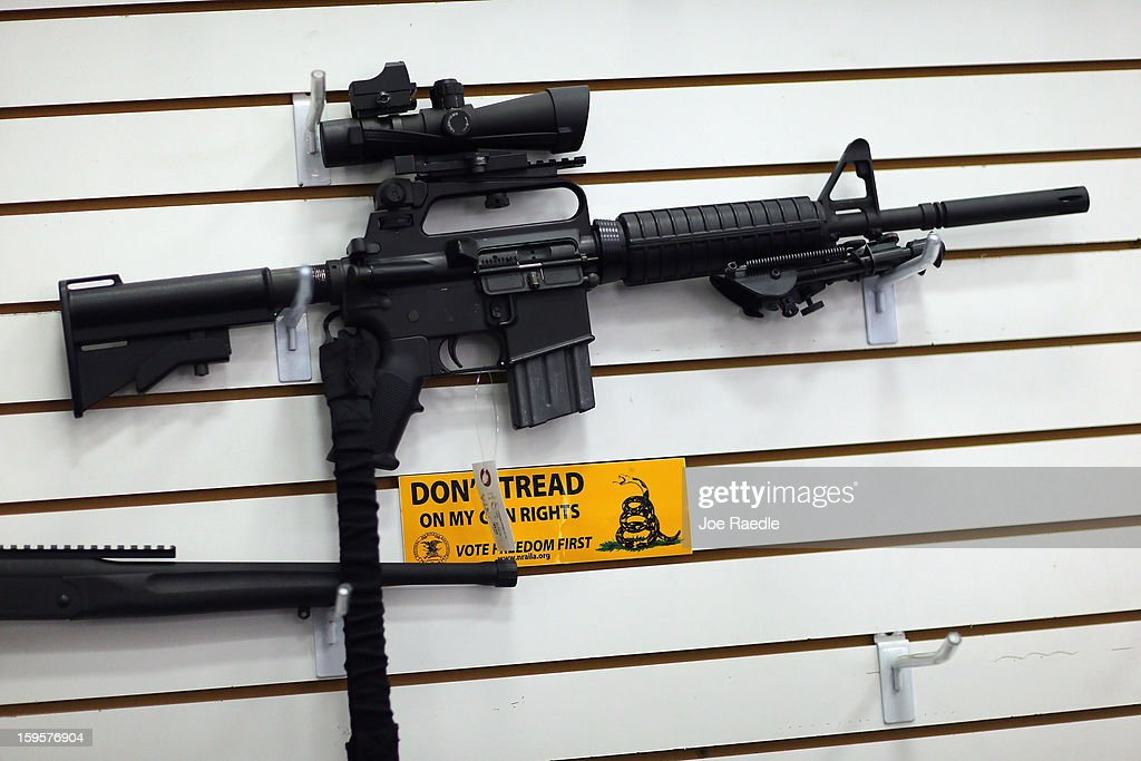 An AR-15 is seen for sale on the wall at the National Armory gun store on January 16, 2013 in Pompano Beach, Florida. President Barack Obama today in Washington, DC announced a broad range of gun initiatives that his administration thinks will help curb gun violence.
