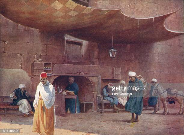 An Arab Café Cairo' c1880 From Egypt by R Talbot Kelly [Adam Charles Black London 1904] Artist Robert George Talbot Kelly