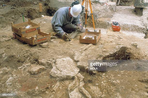 An archaeologist excavating the collapsed wall plaster in the earth and timber building located to the east of London's Roman amphitheatre's eastern...