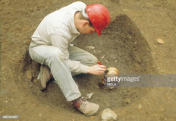 An archaeologist uncovering a Roman human skull which had been disturbed and thrown/redeposited into a later early medieval pit from the 1992–9...