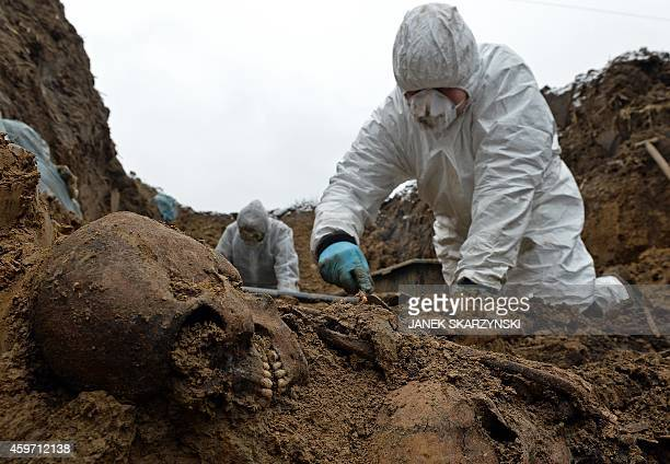 An archeologist digs up remains of one of more than 2500 Soviet and Italian soldiers from World War II who died in a Nazi German stalag near the city...