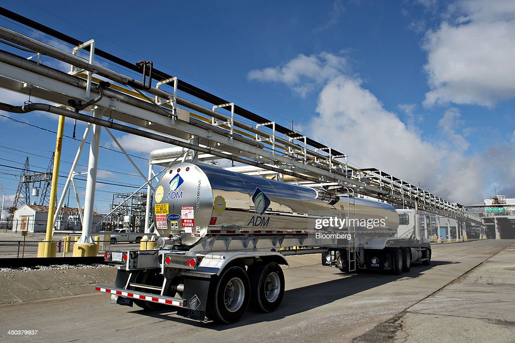 An Archer-Daniels-Midland Co. (ADM) tanker truck drives outside the ADM Decatur Corn Plant in Decatur, Illinois, U.S., on Tuesday, Nov. 12, 2013. Archer-Daniels-Midland Co. procures, transports, stores, processes, and merchandises agricultural commodities and products as well as processes oilseeds, corn, milo, oats, barley, peanuts, and wheat. Photographer: Daniel Acker/Bloomberg via Getty Images