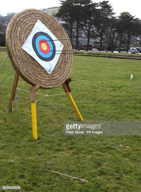 An archery target with two arrows shot by Prince William laying on the ground the three arrows which hit the target were fired by Clive Jones a...