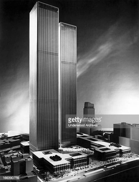An architect's model of the proposed World Trade Center New York New York circa 1965