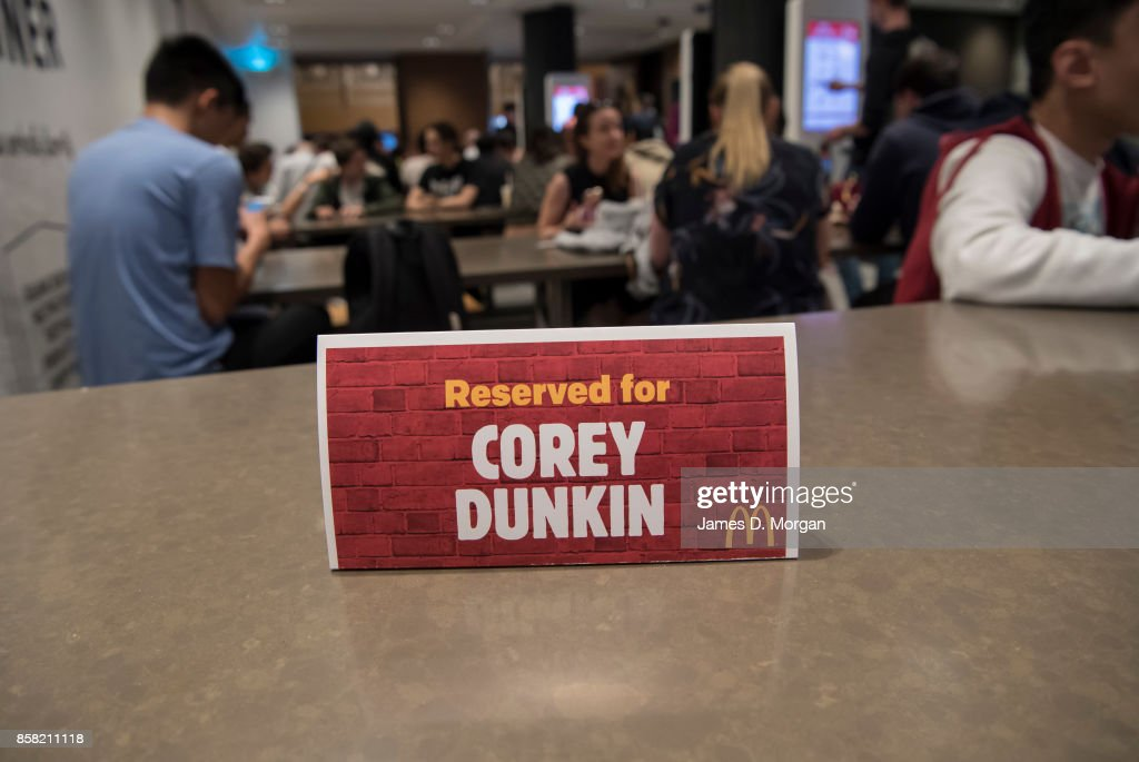 An area is reserved for Corey Dunkin at McDonald's George St on October 6, 2017 in Sydney, Australia. The McNugget fan's post on social media quickly went viral, with thousands registering their interest to attend. McDonald's responded by reserving a table for Corey to enjoy his chicken nuggets.