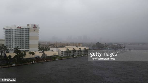 An area near the city's seaport near downtown Ft Lauderdale FL is seen September 10 2017 as Hurricane Irma's wind and rain take effect