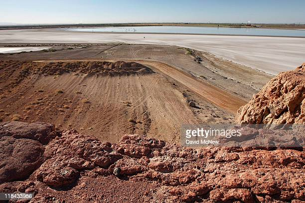 An area of rock quarry activity is seen on Red Hill one of the four Salton Buttes small volcanoes on the southern San Andreas Fault at the Salton Sea...