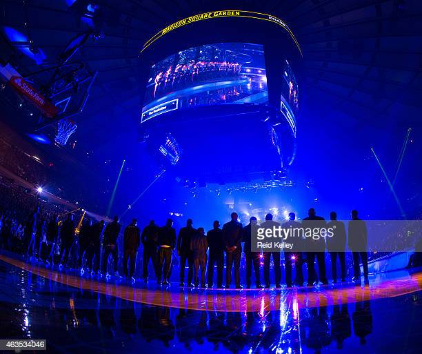 An arena shot of NBA Legends lined up for the national anthem prior to the 2015 NBA AllStar Game as part of the 2015 AllStar Weekend at Madison...