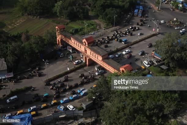 An Arial view of Thane check naka in Mumbai India
