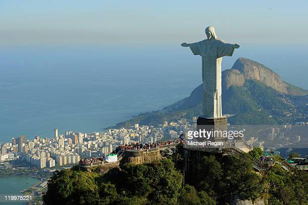An arial view of the 'Christ the Redeemer' statue on top of Corcovado mountain on July 27 2011 in Rio de Janeiro Brazil