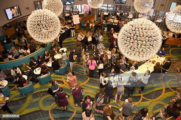 An arial view of the reception during the WICT Leadership Conference at Marriot Marquis on September 19 2016 in New York City