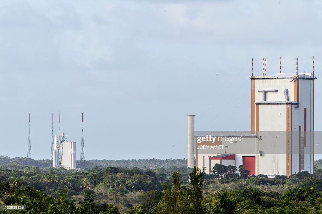 An Ariane 5 rocket carrying two satellites, Amazonas 3 and Azerspace/Africasat-1a, is pictured before blasting off on February 7, 2013 at the European space centre of Kourou, French Guiana.
