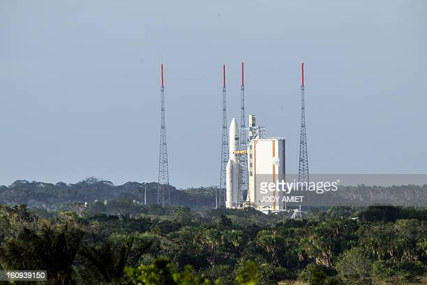 An Ariane 5 rocket carrying two satellites Amazonas 3 and Azerspace/Africasat1a is pictured before blasting off on February 7 2013 at the European...