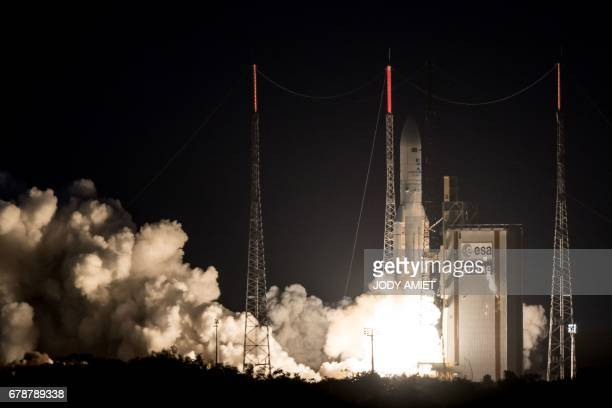 An Ariane 5 rocket lifts off from the French Guiana Space Center with Brazilian and South Korean satellites on board May 4 2017 in Kourou French...
