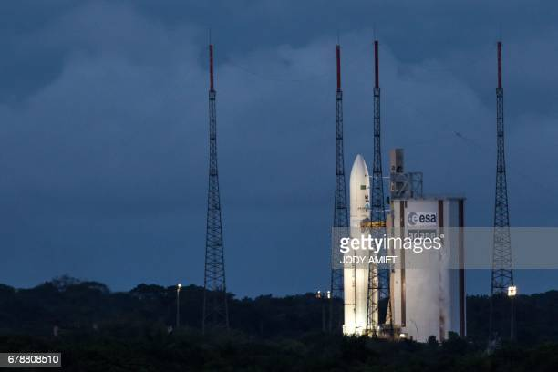 An Ariane 5 rocket prepares to lift off from the French Guiana Space Center with Brazilian and South Korean satellites on board May 4 2017 in Kourou...