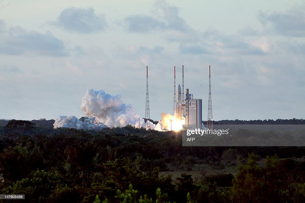 An Ariane-5 rocket blasts off on July 5, 2012, from the European space centre at Kourou, French Guiana. An Ariane-5 rocket placed two telecommunications satellites Echostar XVII and MSG-3, into geostationary orbit, the 49th successive success for the European rocket.