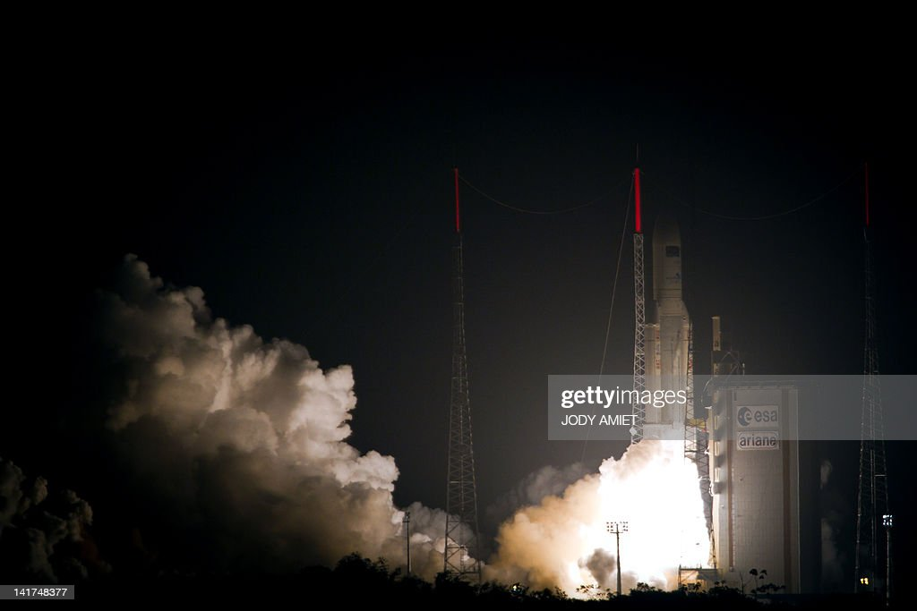 An Ariane-5 rocket blasts off on March 23, 2012 from the European space centre at Kourou, French Guiana. An automated craft laden with supplies for the International Space Station (ISS) headed into space in the heaviest launch ever undertaken by Europe. The 20-tonne vessel, named after a 20th-century Italian physicist, Edoardo Amaldi, was taken aloft by a heavyweight version of the Ariane 5 launcher at 01:34 am (0434 GMT).