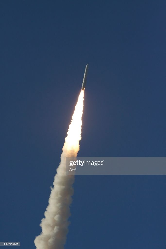 An Ariane-5 rocket, carrying two telecommunication satellites blasts off from the European space centre of Kourou, French Guiana on August 2, 2012. It will eventually place into orbit two geostationary telecommunication satellites -- Intelsat-20 for international satellite operator Intelsat, and HYLAS 2 for European operator Avanti Communications. Intelsat-20, which weighs more than six tonnes, will provide a large number of telecommunication, video, telephone and data transmission services in Europe, the Middle East, Russia and Asia. AFP PHOTO JEROME VALLETTE