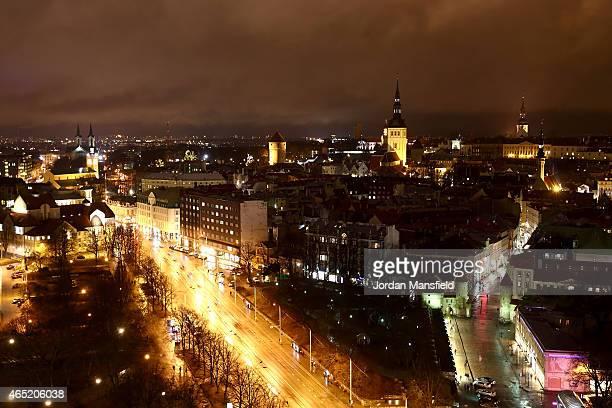 An ariel view of Tallinn City Centre on March 2 2015 in Tallinn Estonia