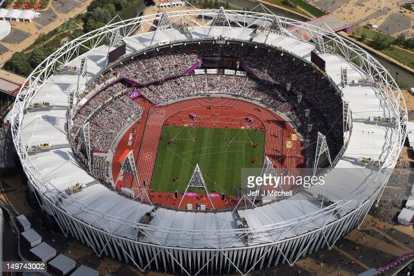 An ariel view of the Olympic Stadium on Day 7 of the London 2012 Olympic Games at Olympic Park on August 3 2012 in London England