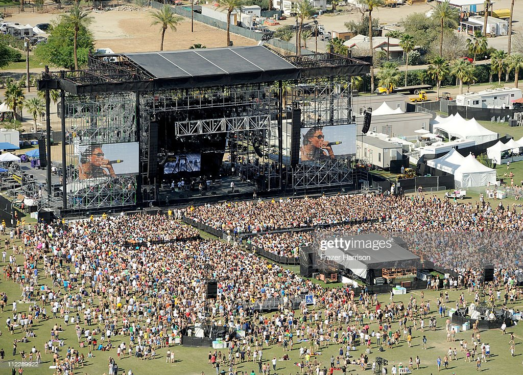 An ariel view of Wiz Khalifa performing during Day 3 of the Coachella Valley Music & Arts Festival 2011 held at the Empire Polo Club on April 17, 2011 in Indio, California.