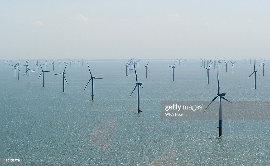 An ariel view over the new Centrica Energy Lincs offshore wind farm off the Lincolnshire coast on August 1, 2013 near Grimbsy, England. Nick Clegg has launched a seven-year plan to boost offshore wind farms and create 26,000 new jobs while transforming sea-based turbine energy into a potential GBP7 billion-a-year business by the year 2020.