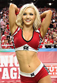 An Arizona Cardinals cheerleader performs during the NFL game against the San Francisco 49ers at the University of Phoenix Stadium on September 21...