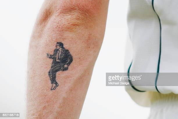 An arm tattoo is seen on Adam Zampa during day three of the Australian Test cricket intersquad match at Marrara Cricket Ground on August 16 2017 in...