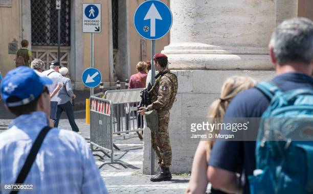 An armed army officer patrols near the Vatican on May 23 2017 in Vatican City Vatican Security is on its highest level as the visit of United States...