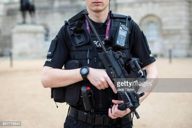 An armed police officer patrols in Horse Guards Parade on September 16 2017 in London England An 18yearold man has been arrested in Dover in...