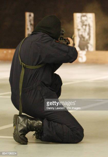 An Armed Response Officer on the firing range at Strathclyde Police Force Training Centre in East Kilbride
