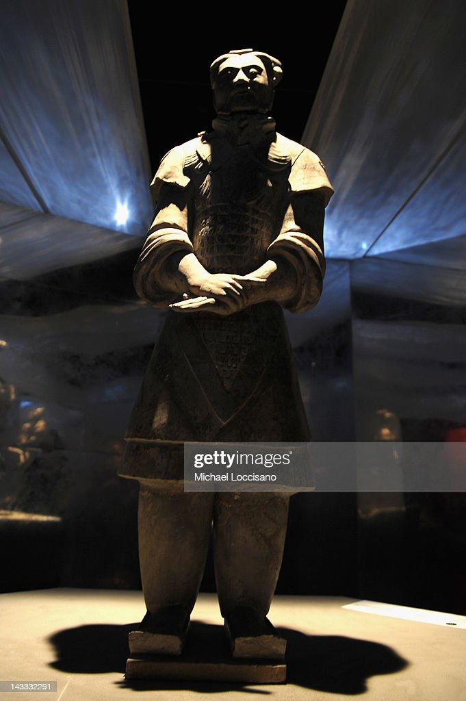 An Armored General, one of Ten Terracotta soldiers on display at Discovery Times Square on April 24, 2012 in New York City. The exhibition is due to open on April 27, 2012