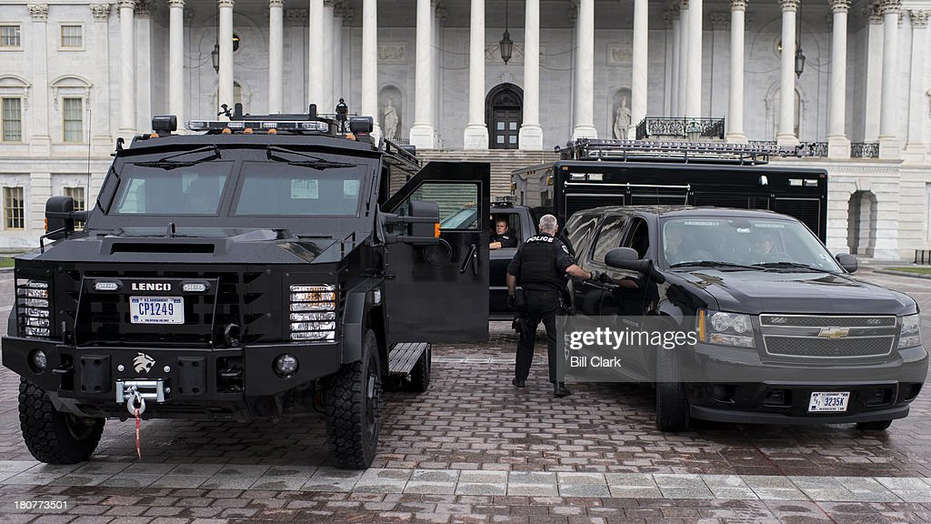 An armored police vehicle sits on the East Plaza of the Capitol as US Capitol Police conduct enhanced security operations around the Capitol Complex...