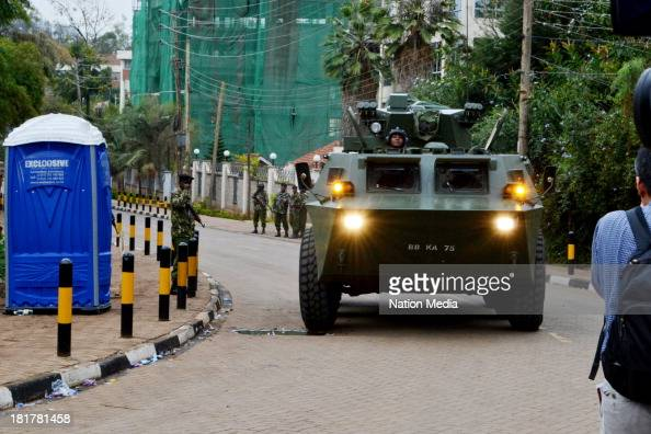An armoured Military truck patrolling outside Westgate Mall on September 24 2013 in Nairobi Kenya The terrorist attack occurred on Saturday 1015...