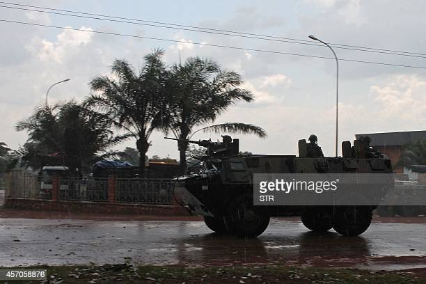 An armoured vehicle of the French military Sangaris operation in Central African Republic patrols in downtown Bangui on October 11 2014 The UN...